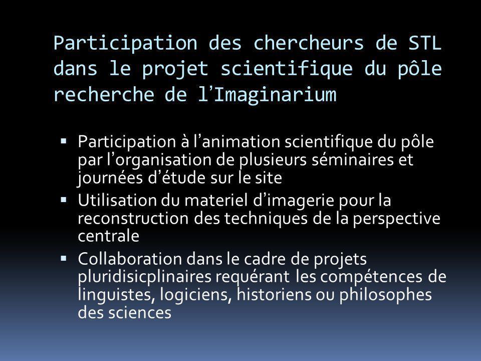Participation des chercheurs de STL dans le projet scientifique du pôle recherche de lImaginarium Participation à lanimation scientifique du pôle par