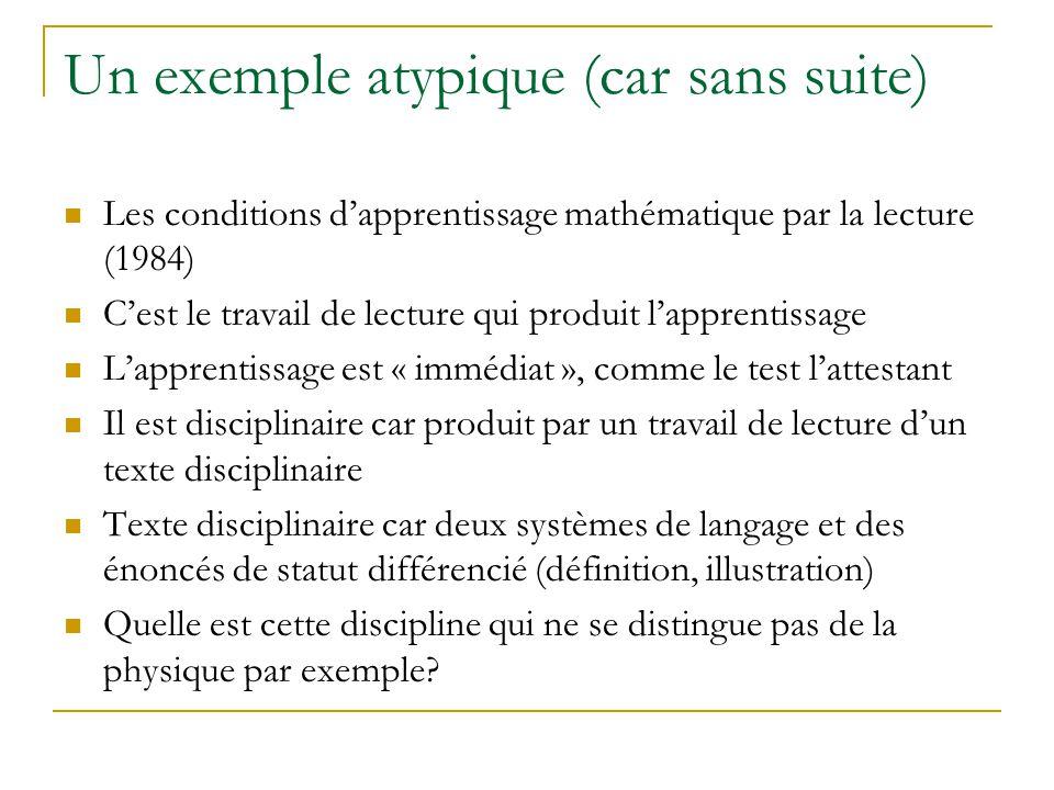 Un exemple atypique (car sans suite) Les conditions dapprentissage mathématique par la lecture (1984) Cest le travail de lecture qui produit lapprenti