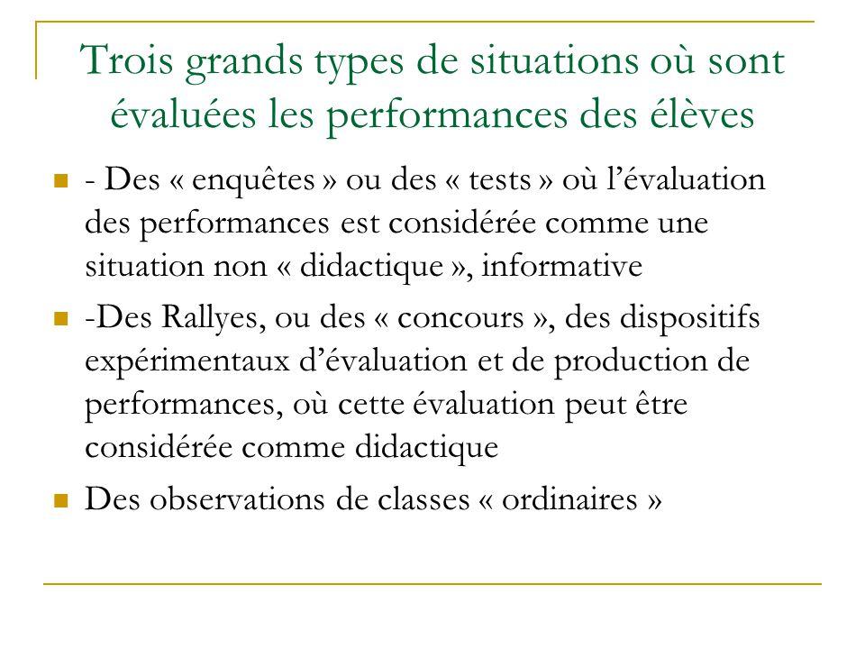 Trois grands types de situations où sont évaluées les performances des élèves - Des « enquêtes » ou des « tests » où lévaluation des performances est