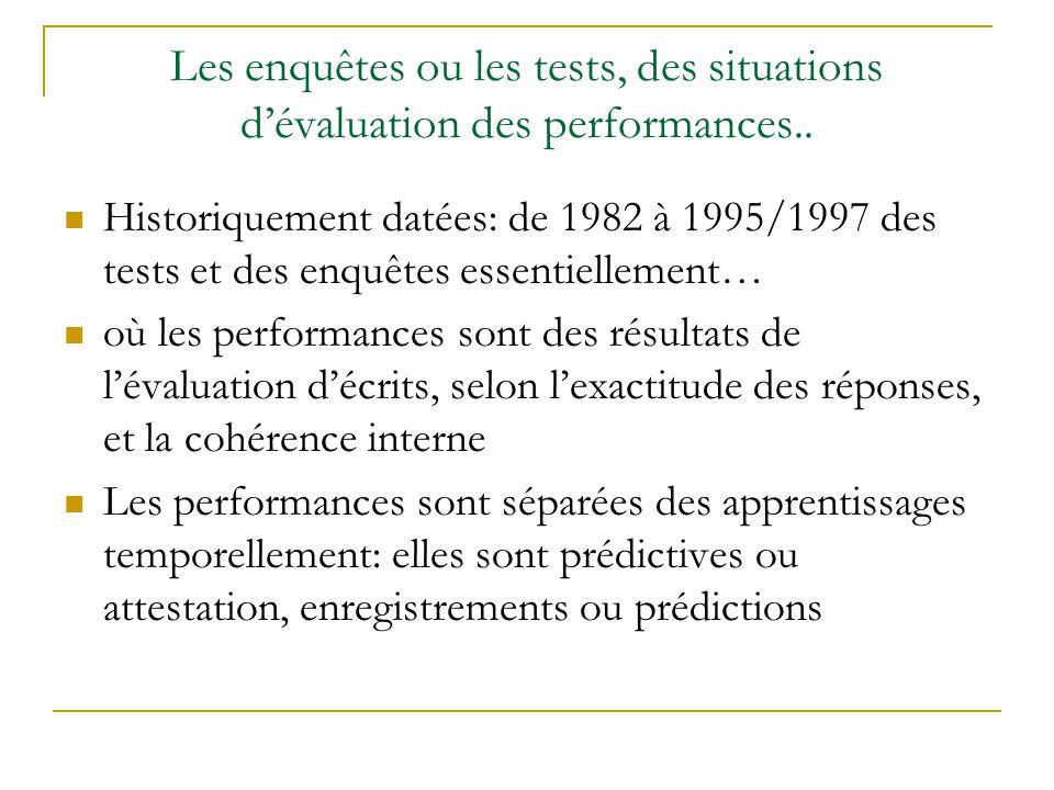 Les enquêtes ou les tests, des situations dévaluation des performances.. Historiquement datées: de 1982 à 1995/1997 des tests et des enquêtes essentie