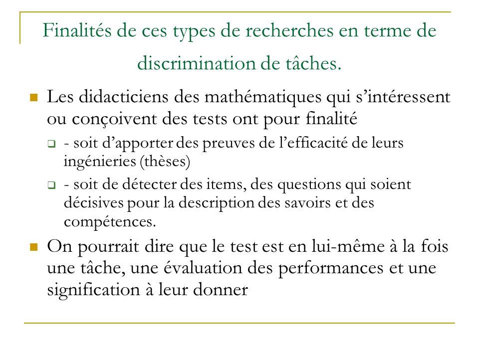 Finalités de ces types de recherches en terme de discrimination de tâches. Les didacticiens des mathématiques qui sintéressent ou conçoivent des tests