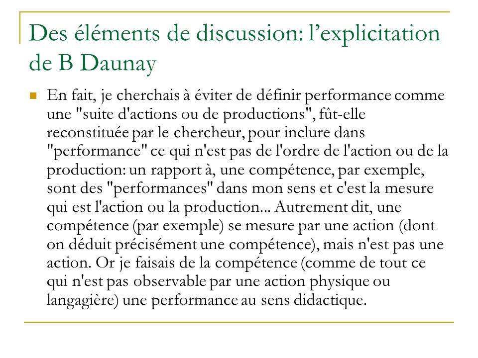 Des éléments de discussion: lexplicitation de B Daunay En fait, je cherchais à éviter de définir performance comme une