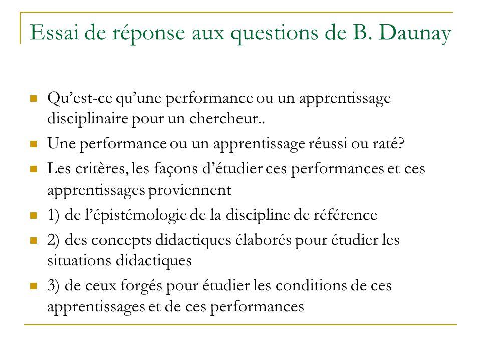 Essai de réponse aux questions de B. Daunay Quest-ce quune performance ou un apprentissage disciplinaire pour un chercheur.. Une performance ou un app