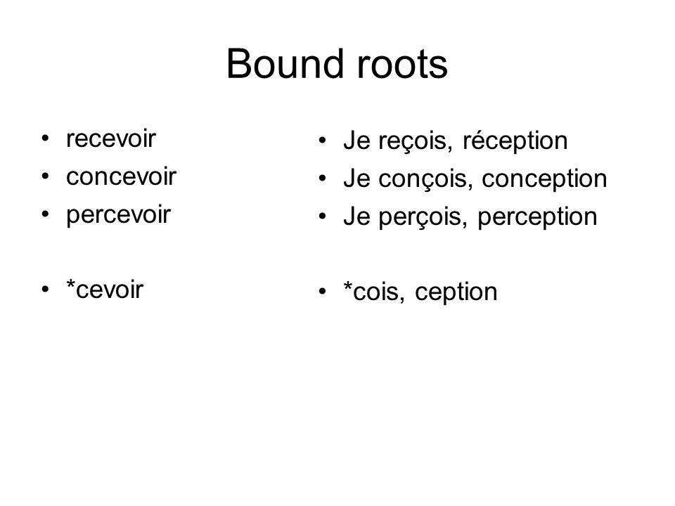 Bound roots recevoir concevoir percevoir *cevoir Je reçois, réception Je conçois, conception Je perçois, perception *cois, ception