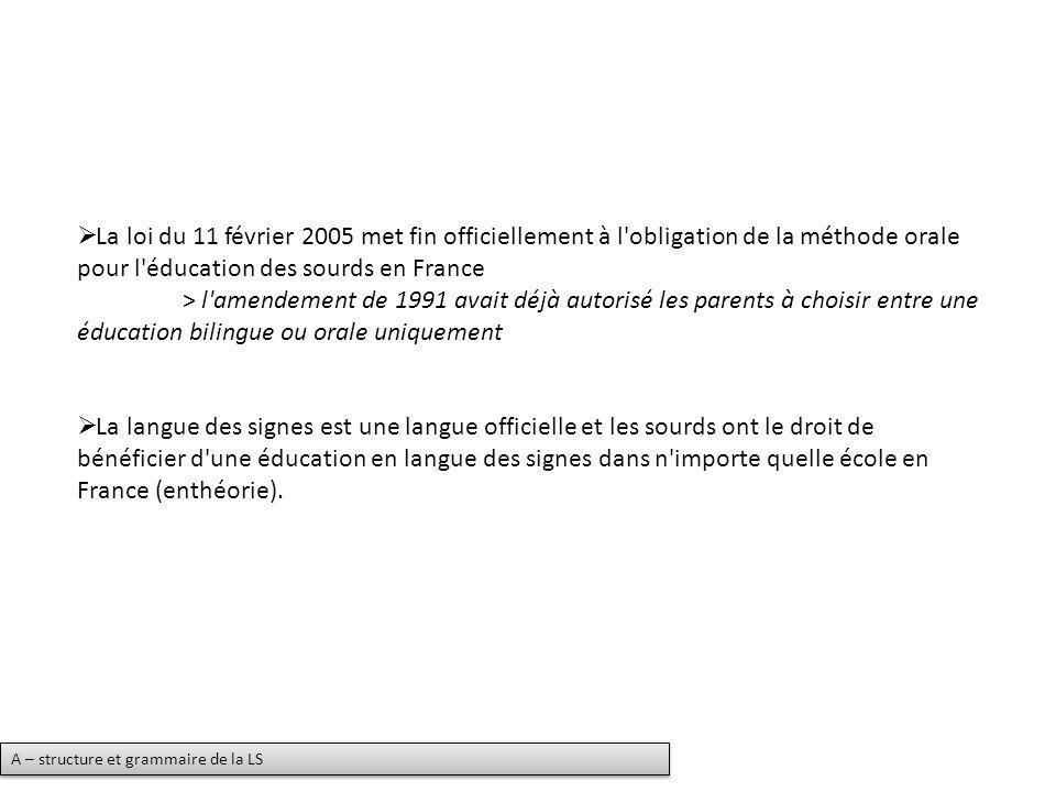 La loi du 11 février 2005 met fin officiellement à l'obligation de la méthode orale pour l'éducation des sourds en France > l'amendement de 1991 avait