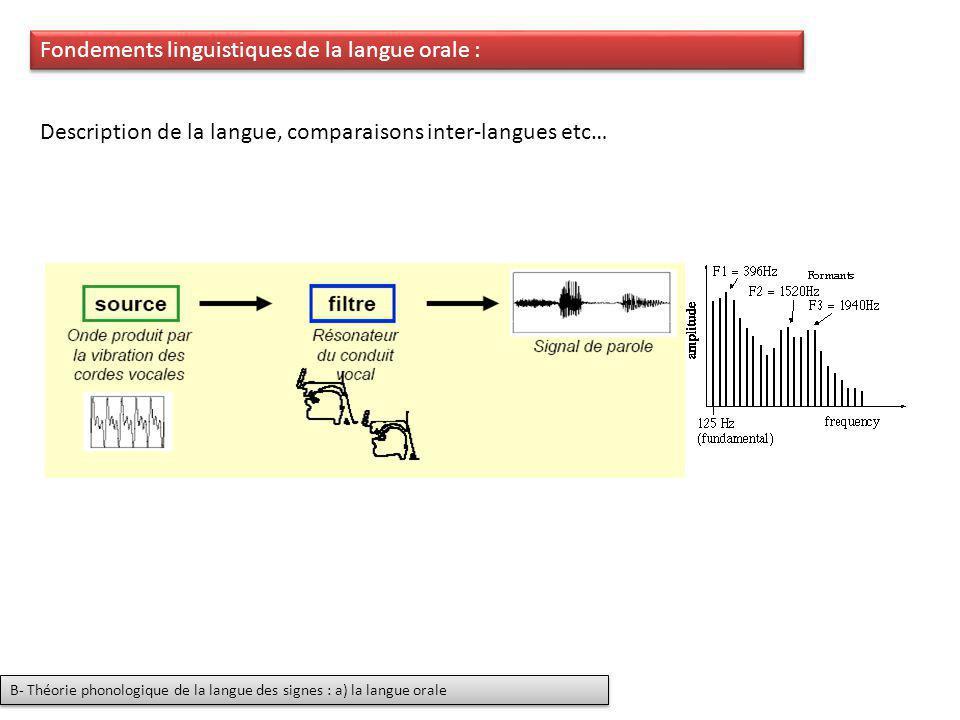 Fondements linguistiques de la langue orale : Description de la langue, comparaisons inter-langues etc… B- Théorie phonologique de la langue des signe
