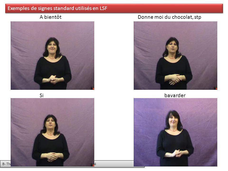 Exemples de signes standard utilisés en LSF A bientôtDonne moi du chocolat, stp Sibavarder