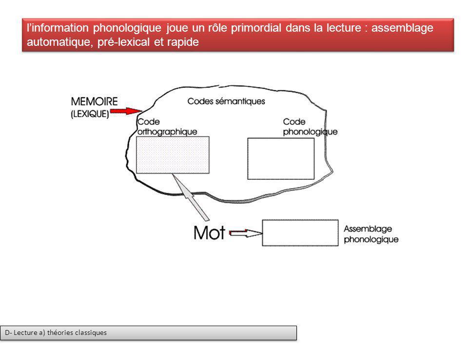 linformation phonologique joue un rôle primordial dans la lecture : assemblage automatique, pré-lexical et rapide D- Lecture a) théories classiques