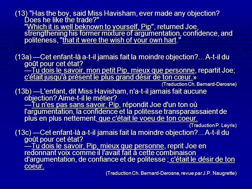 (13) Has the boy, said Miss Havisham, ever made any objection.