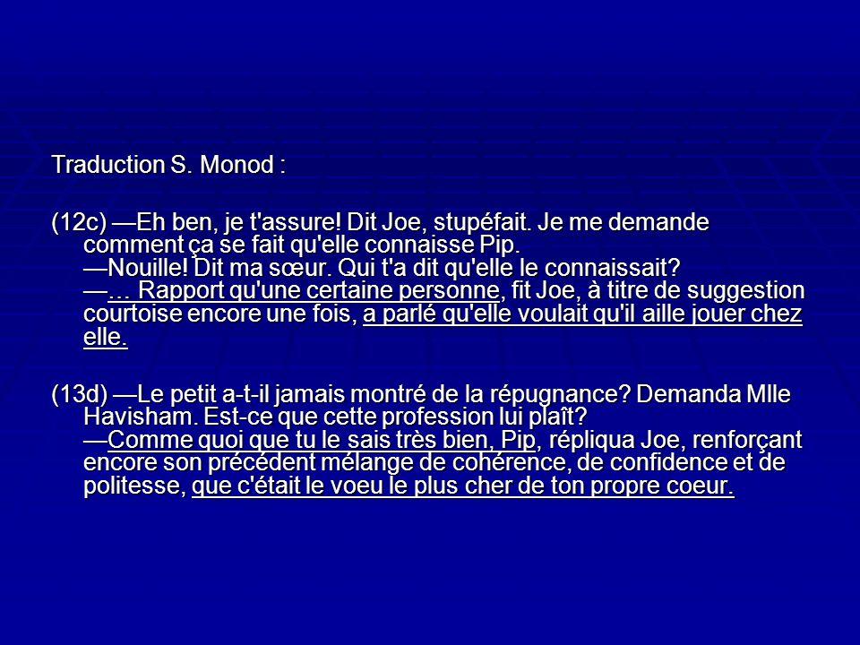 Traduction S.Monod : (12c) Eh ben, je t assure. Dit Joe, stupéfait.