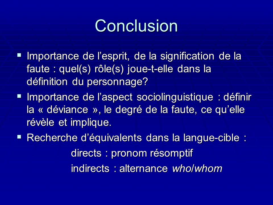 Conclusion Importance de lesprit, de la signification de la faute : quel(s) rôle(s) joue-t-elle dans la définition du personnage? Importance de lespri