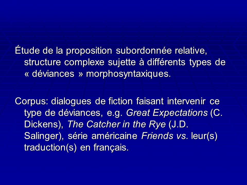 Étude de la proposition subordonnée relative, structure complexe sujette à différents types de « déviances » morphosyntaxiques.