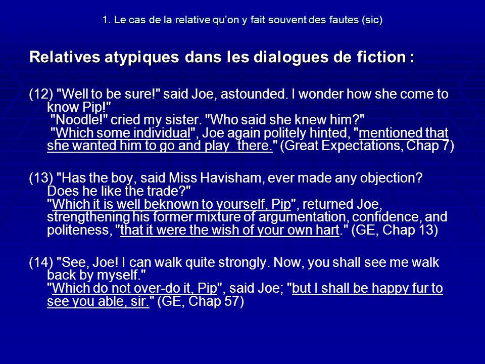 1. Le cas de la relative quon y fait souvent des fautes (sic) Relatives atypiques dans les dialogues de fiction : (12)