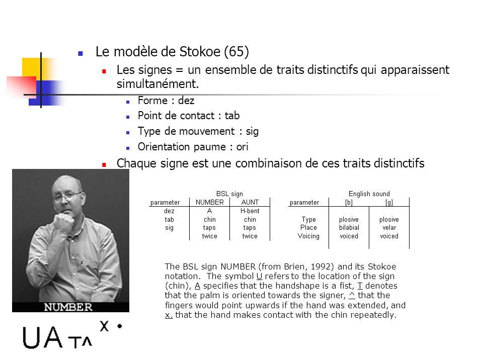 Les signes ont une structure similaire à celle des mots dans le langage oral Certains considèrent que les traits distinctifs des signes sont comparabl