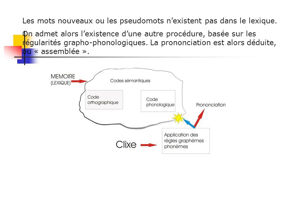 La prononciation des mots irréguliers doit être apprise. Pour lire ces mots, on utilise une procédure basée sur la reconnaissance visuelle des mots :
