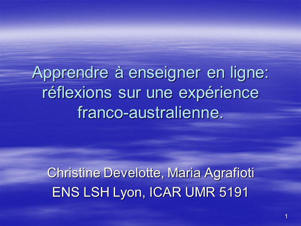 1 Apprendre à enseigner en ligne: réflexions sur une expérience franco-australienne.