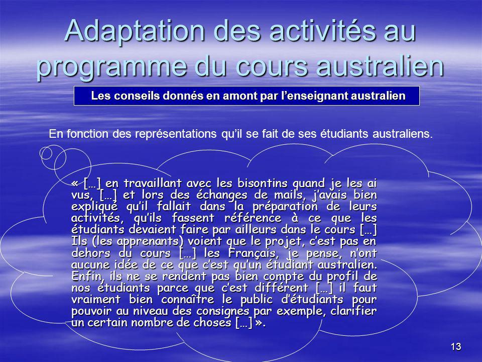 13 « […] en travaillant avec les bisontins quand je les ai vus, […] et lors des échanges de mails, javais bien expliqué quil fallait dans la préparation de leurs activités, quils fassent référence à ce que les étudiants devaient faire par ailleurs dans le cours […] Ils (les apprenants) voient que le projet, cest pas en dehors du cours […] les Français, je pense, nont aucune idée de ce que cest quun étudiant australien.