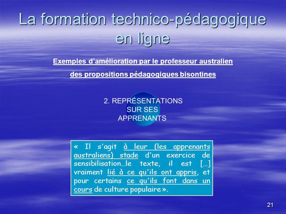 21 La formation technico-pédagogique en ligne 2.
