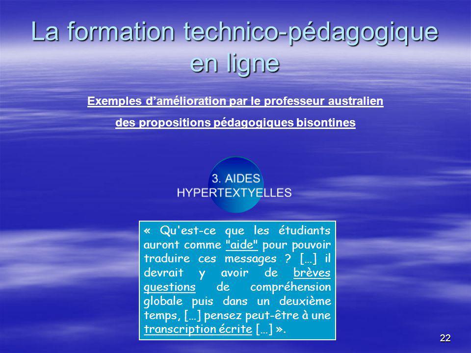 22 La formation technico-pédagogique en ligne 3.
