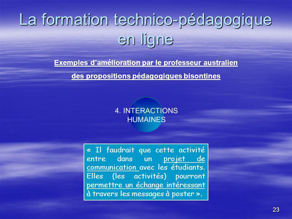 23 La formation technico-pédagogique en ligne 4.