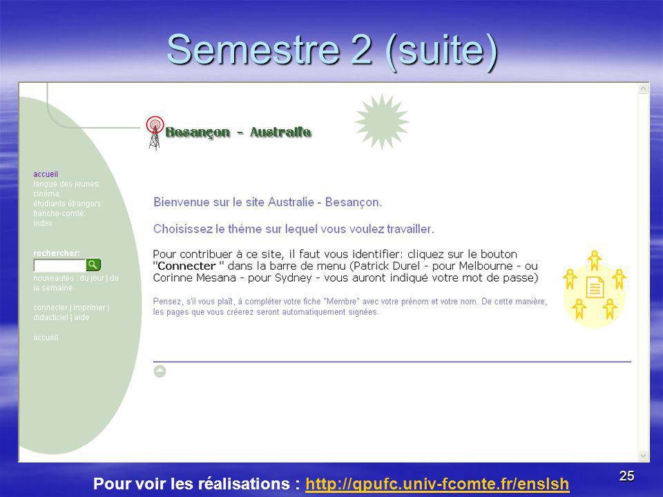 25 Semestre 2 (suite) Pour voir les réalisations : http://qpufc.univ-fcomte.fr/enslshhttp://qpufc.univ-fcomte.fr/enslsh