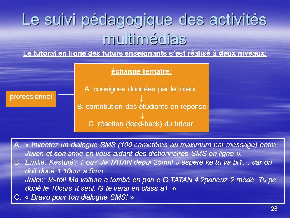 26 Le suivi pédagogique des activités multimédias A.« Inventez un dialogue SMS (100 caractères au maximum par message) entre Julien et son amie en vous aidant des dictionnaires SMS en ligne ».