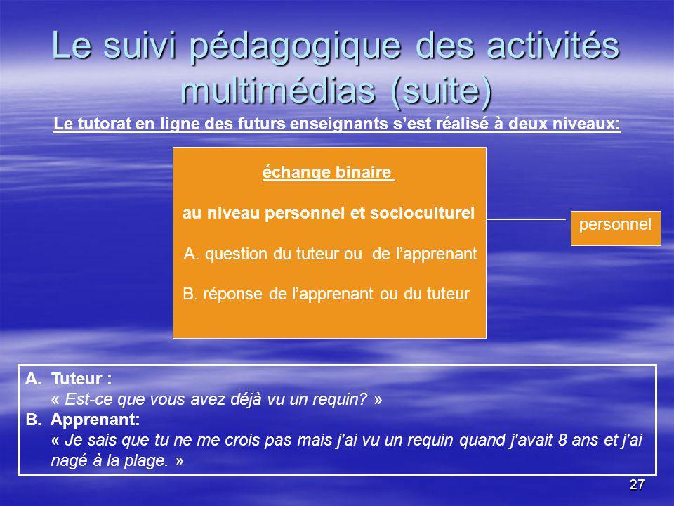 27 Le suivi pédagogique des activités multimédias (suite) Le tutorat en ligne des futurs enseignants sest réalisé à deux niveaux: personnel échange binaire au niveau personnel et socioculturel A.