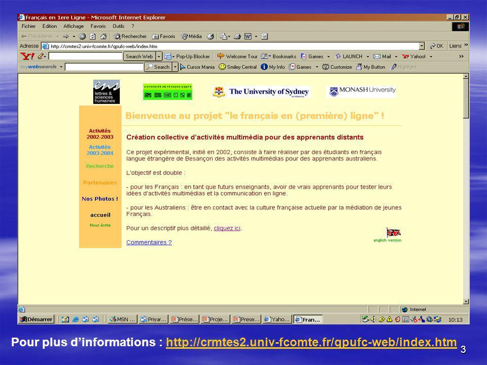 3 Pour plus dinformations : http://crmtes2.univ-fcomte.fr/qpufc-web/index.htmhttp://crmtes2.univ-fcomte.fr/qpufc-web/index.htm