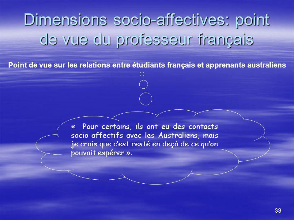 33 Dimensions socio-affectives: point de vue du professeur français « Pour certains, ils ont eu des contacts socio-affectifs avec les Australiens, mais je crois que cest resté en deçà de ce quon pouvait espérer ».