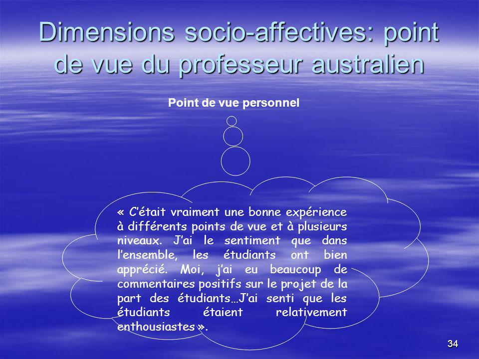 34 Dimensions socio-affectives: point de vue du professeur australien Point de vue personnel « Cétait vraiment une bonne expérience à différents points de vue et à plusieurs niveaux.