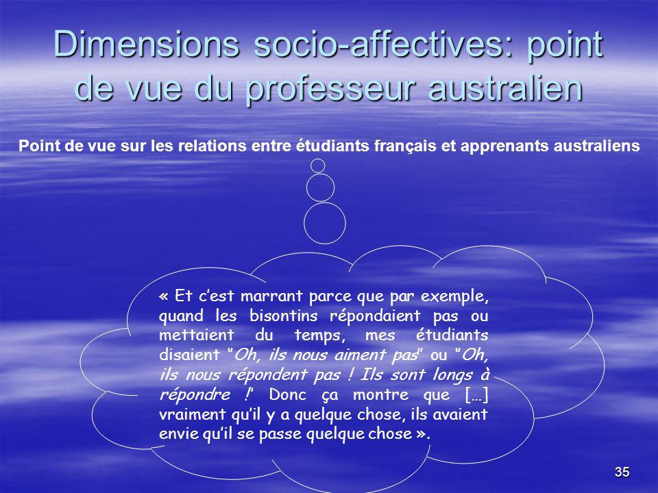 35 Dimensions socio-affectives: point de vue du professeur australien « Et cest marrant parce que par exemple, quand les bisontins répondaient pas ou mettaient du temps, mes étudiants disaient Oh, ils nous aiment pas ou Oh, ils nous répondent pas .