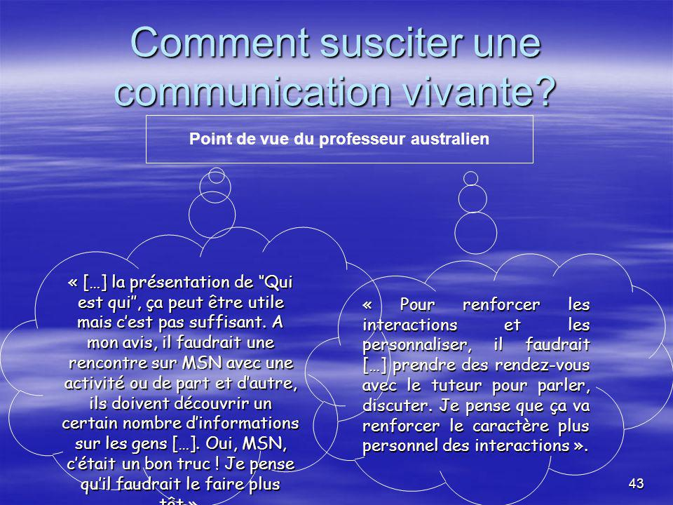 43 Comment susciter une communication vivante.
