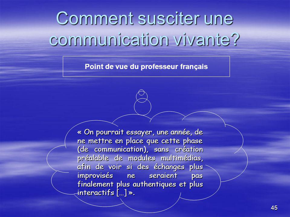 45 Comment susciter une communication vivante.