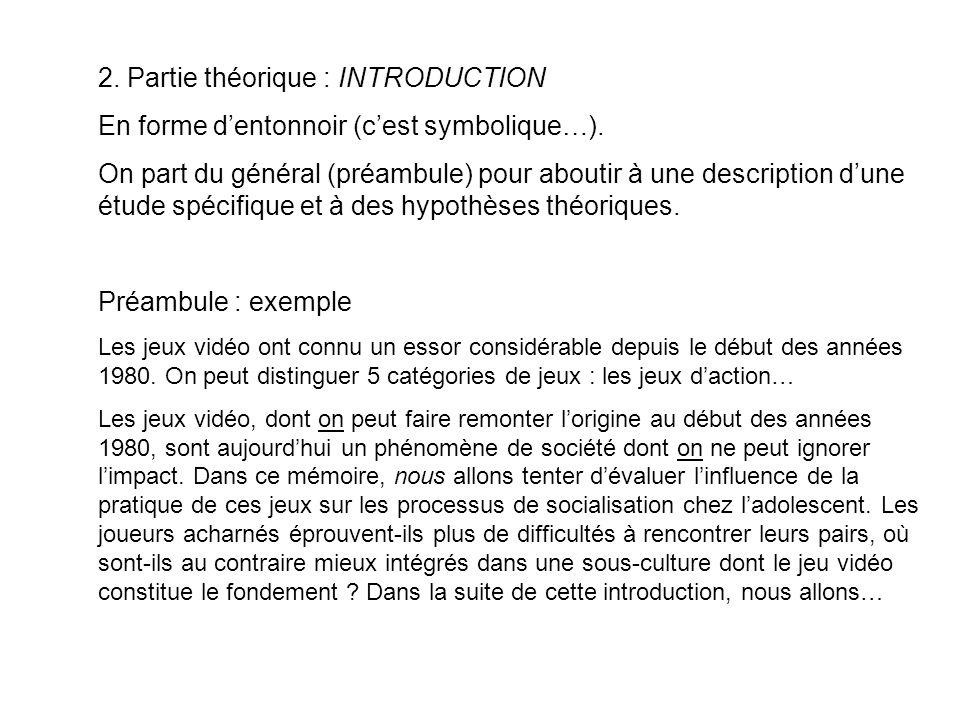 2. Partie théorique : INTRODUCTION En forme dentonnoir (cest symbolique…). On part du général (préambule) pour aboutir à une description dune étude sp