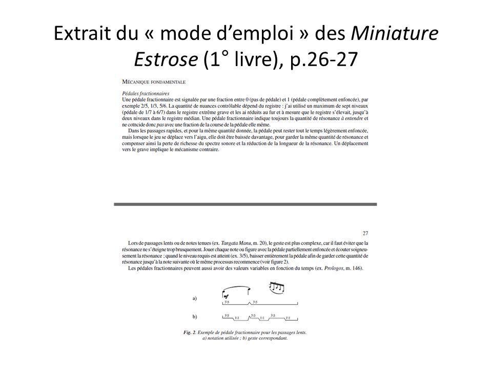Extrait du « mode demploi » des Miniature Estrose (1° livre), p.26-27