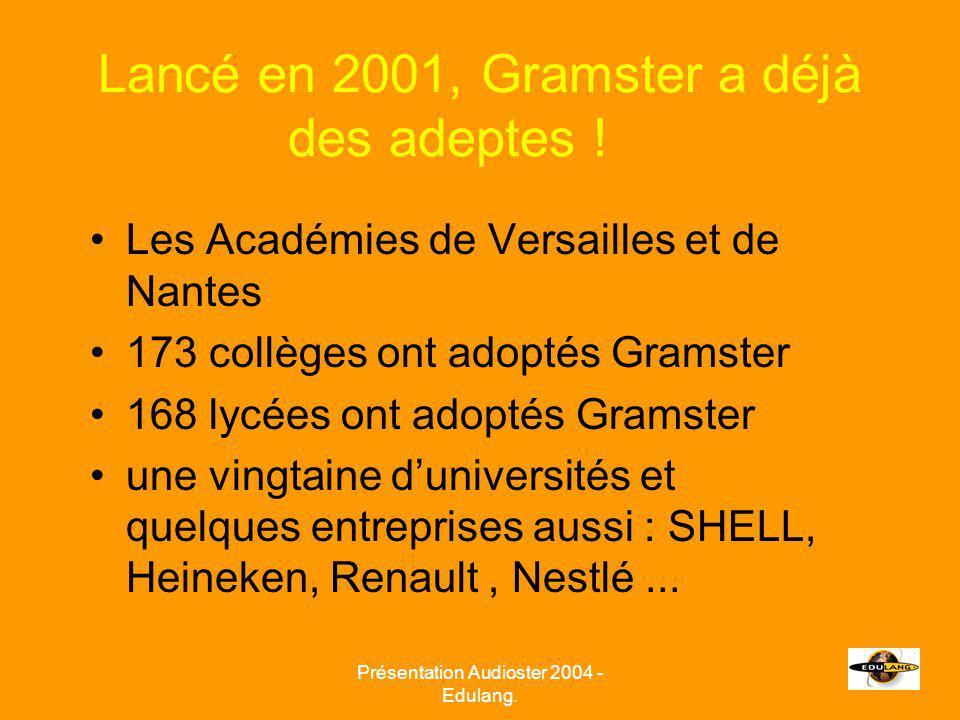 Présentation Audioster 2004 - Edulang. Lancé en 2001, Gramster a déjà des adeptes .
