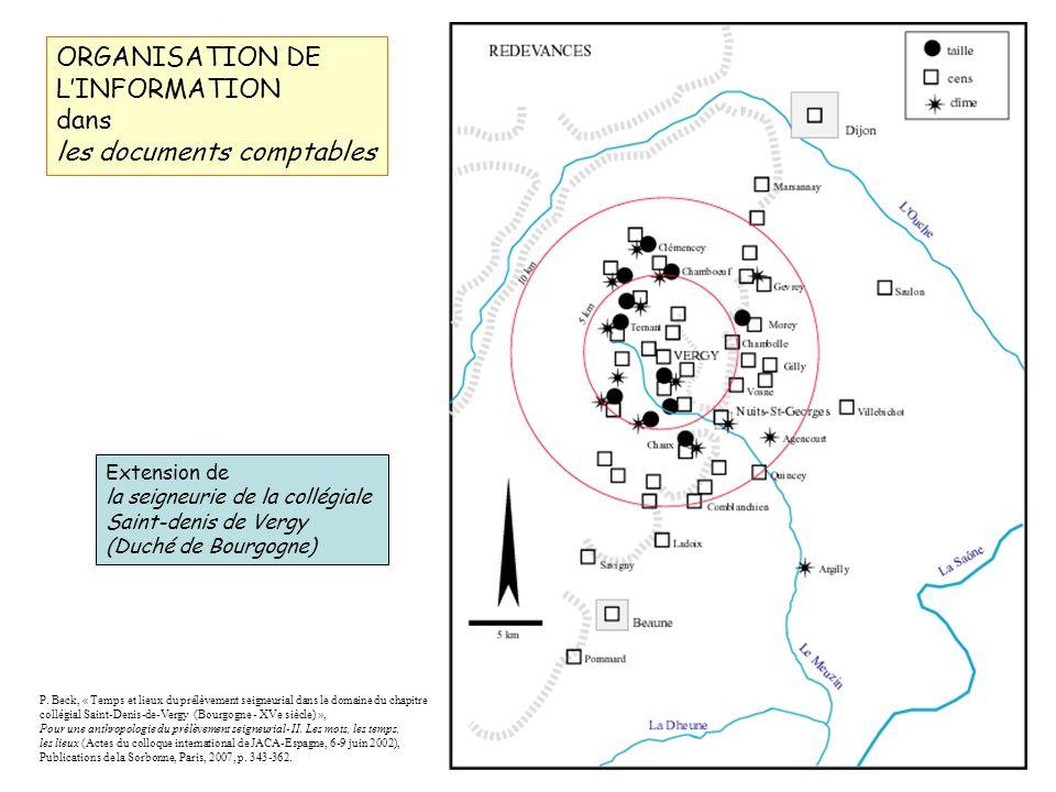ORGANISATION DE LINFORMATION dans les documents comptables Extension de la seigneurie de la collégiale Saint-denis de Vergy (Duché de Bourgogne) P.