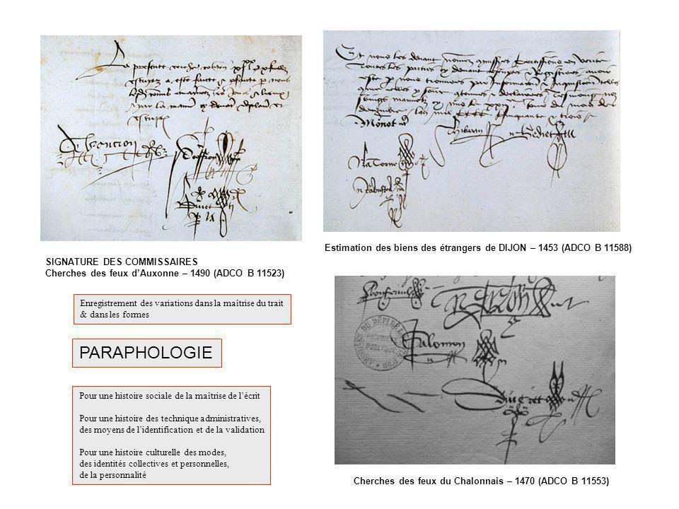 PARAPHOLOGIE SIGNATURE DES COMMISSAIRES Cherches des feux dAuxonne – 1490 (ADCO B 11523) Estimation des biens des étrangers de DIJON – 1453 (ADCO B 11