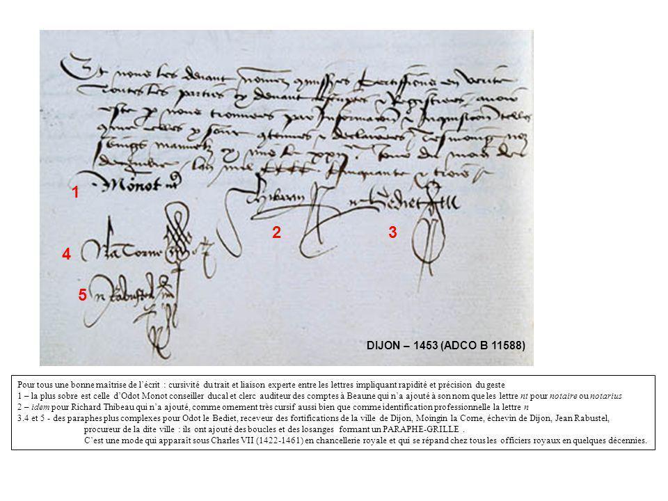 Chalonnais – 1470 (ADCO B 11553) Contraste saisissant entre 3 et 4 maîtrisant parfaitement le paraphe grille et 1 et 2 aux traits plus cursifs et moins réguliers, ornées de surcroît de paraphes EN MANIERE DENCADREMENT dont le style est alors ancien : les traits sommitaux et/ou de fond, scandés et arrêtés de boucles faisaient fureur sous Charles V et Charles VI.