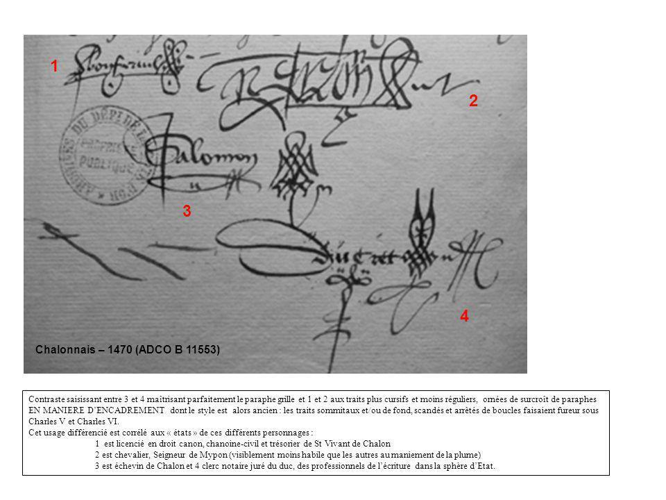 Auxonne – 1490 (ADCO B 11523) 1 2 3 Même contraste : 1 - tracé approximatif de grandes lettres et paraphe encadré, daté dune à deux générations, pour Claude seigneur de Brancion 2 & 3 - signatures très maîtrisées, complexes et dans lair du temps pour Philippe Geoffroy, prêtre chorial prébendier de léglise de Chalon et pour Huguenin Druet, notaire royal.