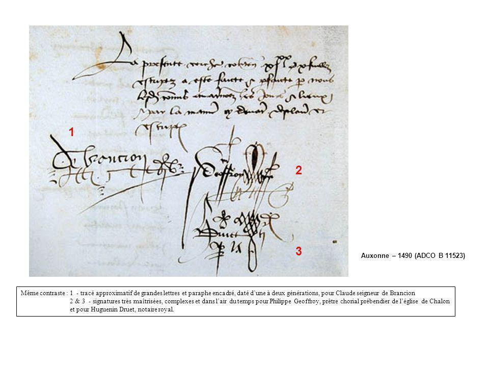 Auxonne – 1490 (ADCO B 11523) 1 2 3 Même contraste : 1 - tracé approximatif de grandes lettres et paraphe encadré, daté dune à deux générations, pour
