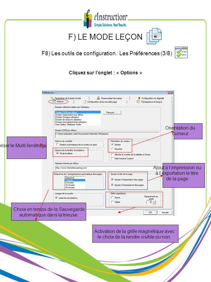 Choix en temps de la Sauvegarde automatique dans la trieuse Orientation du curseur Autoriser le Multi fenêtrage Activation de la grille magnétique avec le choix de la rendre visible ou non Ajout à limpression ou à lexportation le titre de la page Cliquez sur longlet : « Options » F) LE MODE LEÇON F8) Les outils de configuration : Les Préférences (3/8)