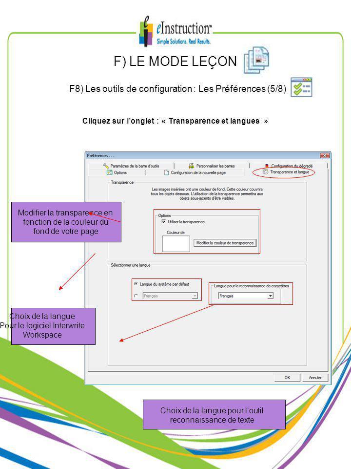 Modifier la transparence en fonction de la couleur du fond de votre page Choix de la langue Pour le logiciel Interwrite Workspace Choix de la langue pour loutil reconnaissance de texte Cliquez sur longlet : « Transparence et langues » F) LE MODE LEÇON F8) Les outils de configuration : Les Préférences (5/8)