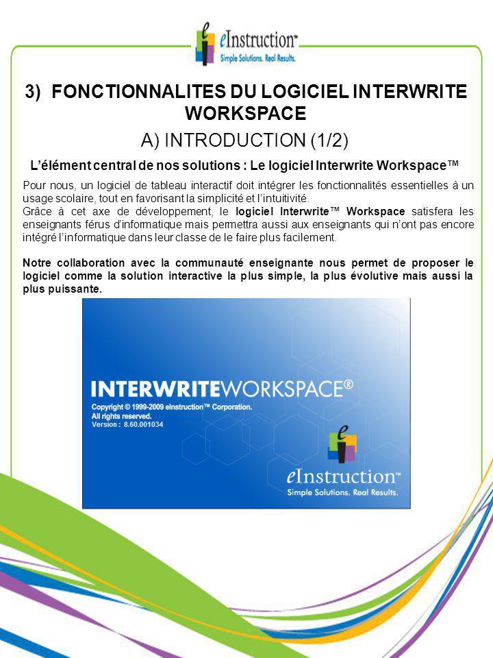 3) FONCTIONNALITES DU LOGICIEL INTERWRITE WORKSPACE Pour nous, un logiciel de tableau interactif doit intégrer les fonctionnalités essentielles à un usage scolaire, tout en favorisant la simplicité et lintuitivité.