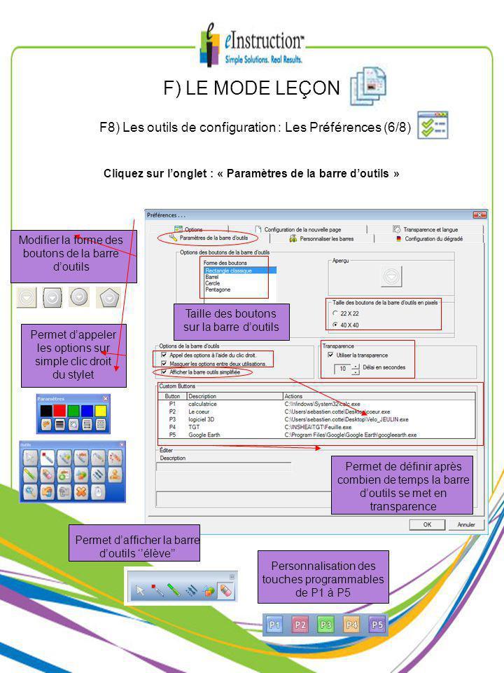 Modifier la forme des boutons de la barre doutils Taille des boutons sur la barre doutils Personnalisation des touches programmables de P1 à P5 Permet dappeler les options sur simple clic droit du stylet Permet dafficher la barre doutils élève Permet de définir après combien de temps la barre doutils se met en transparence Cliquez sur longlet : « Paramètres de la barre doutils » F) LE MODE LEÇON F8) Les outils de configuration : Les Préférences (6/8)