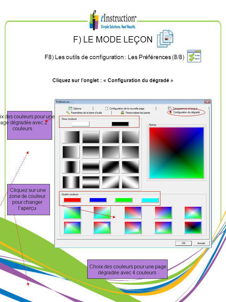 Choix des couleurs pour une page dégradée avec 4 couleurs Choix des couleurs pour une page dégradée avec 2 couleurs Cliquez sur une zone de couleur pour changer laperçu Cliquez sur longlet : « Configuration du dégradé » F) LE MODE LEÇON F8) Les outils de configuration : Les Préférences (8/8)