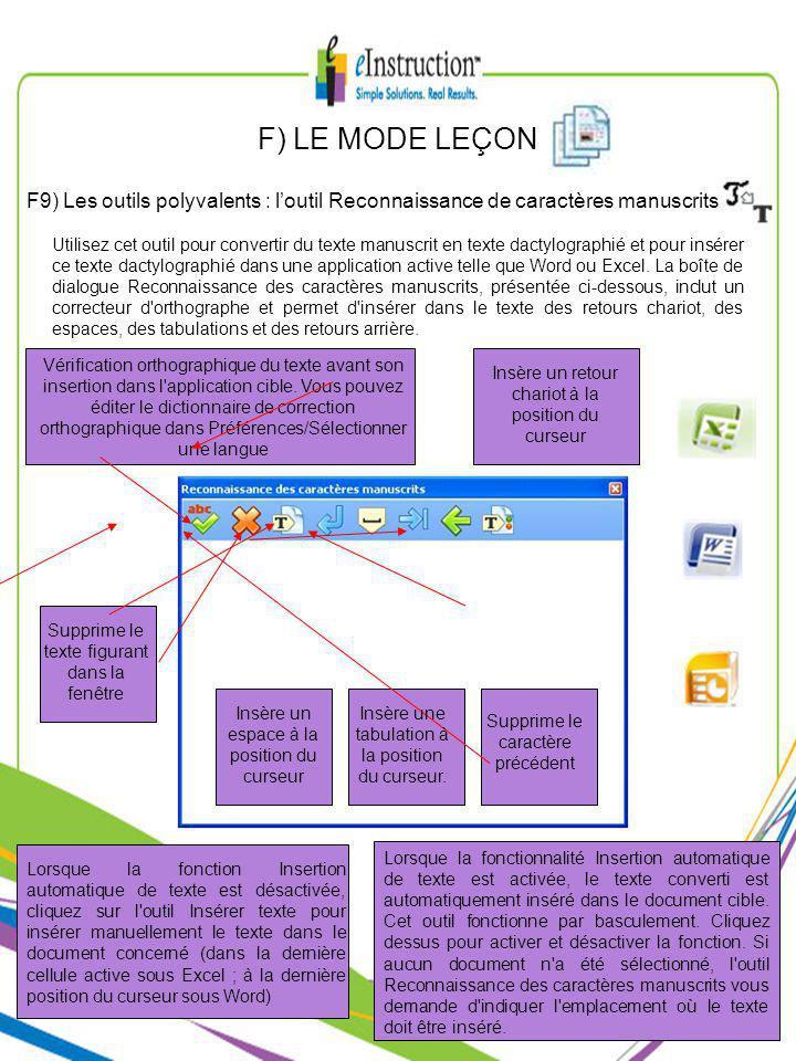 F) LE MODE LEÇON F9) Les outils polyvalents : loutil Reconnaissance de caractères manuscrits Utilisez cet outil pour convertir du texte manuscrit en texte dactylographié et pour insérer ce texte dactylographié dans une application active telle que Word ou Excel.