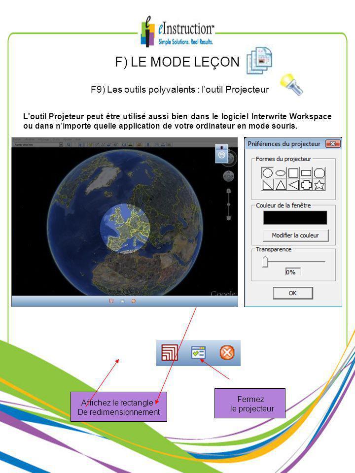 F) LE MODE LEÇON F9) Les outils polyvalents : loutil Projecteur L outil Projeteur peut être utilisé aussi bien dans le logiciel Interwrite Workspace ou dans nimporte quelle application de votre ordinateur en mode souris.