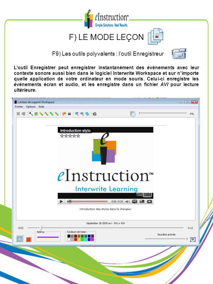 F) LE MODE LEÇON F9) Les outils polyvalents : loutil Enregistreur Loutil Enregistrer peut enregistrer instantanément des événements avec leur contexte sonore aussi bien dans le logiciel Interwrite Workspace et sur nimporte quelle application de votre ordinateur en mode souris.