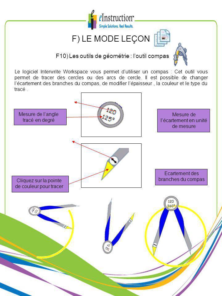 F) LE MODE LEÇON F10) Les outils de géométrie : loutil compas Le logiciel Interwrite Workspace vous permet dutiliser un compas : Cet outil vous permet de tracer des cercles ou des arcs de cercle.
